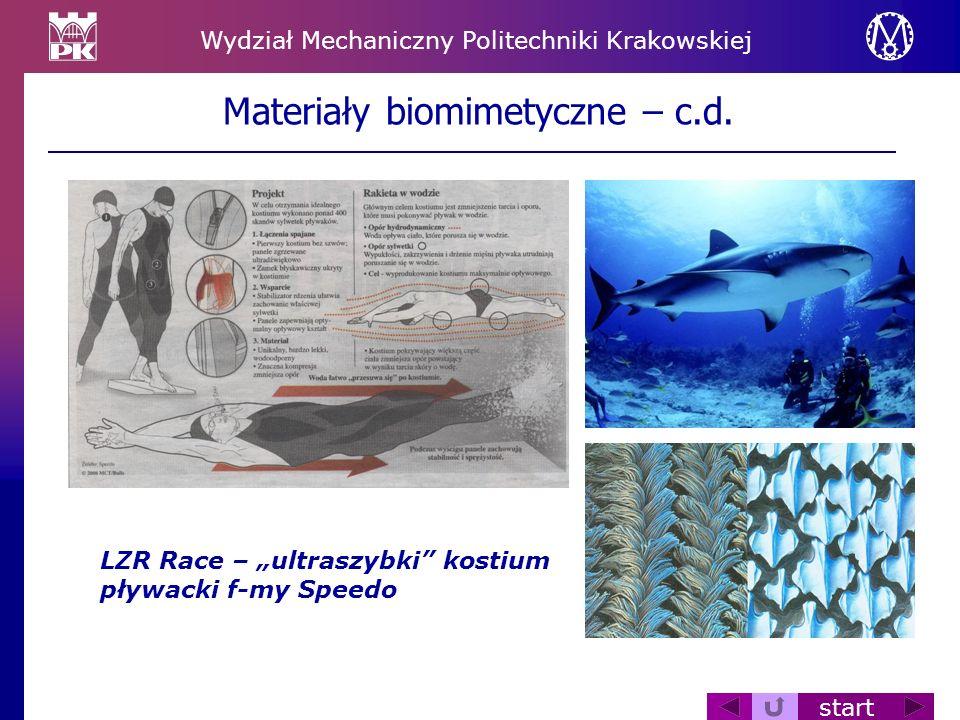 Wydział Mechaniczny Politechniki Krakowskiej start Materiały biomimetyczne – c.d. LZR Race – ultraszybki kostium pływacki f-my Speedo