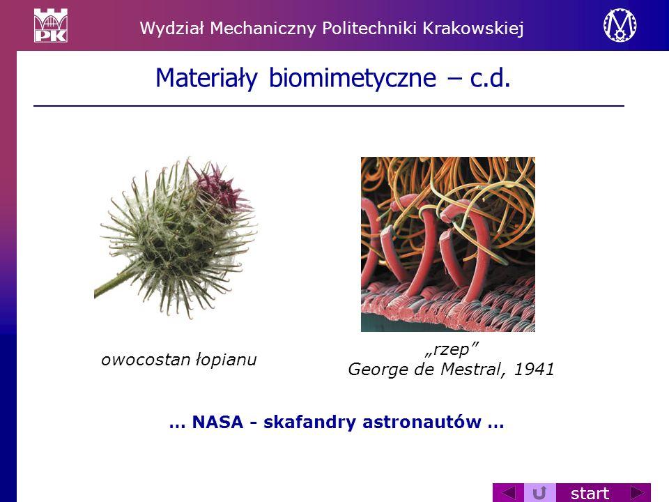 Wydział Mechaniczny Politechniki Krakowskiej start Materiały biomimetyczne – c.d. owocostan łopianu rzep George de Mestral, 1941 … NASA - skafandry as