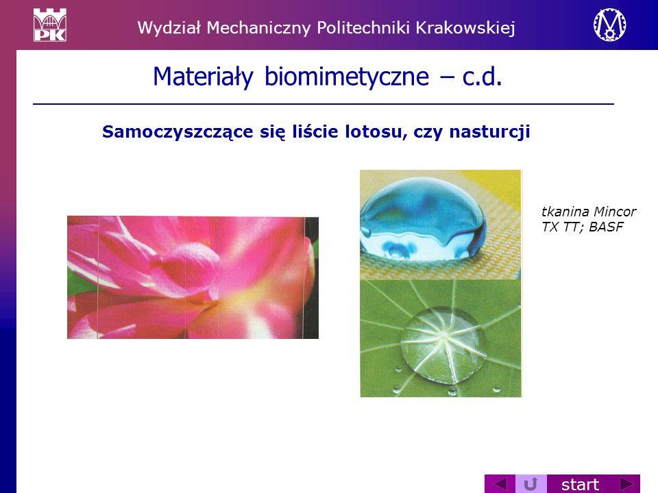 Wydział Mechaniczny Politechniki Krakowskiej start Materiały biomimetyczne – c.d. Samoczyszczące się liście lotosu, czy nasturcji tkanina Mincor TX TT