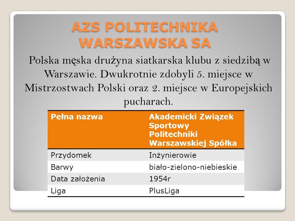 AZS POLITECHNIKA WARSZAWSKA SA Polska m ę ska dru ż yna siatkarska klubu z siedzib ą w Warszawie.