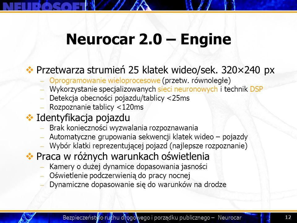 Bezpieczeństwo ruchu drogowego i porządku publicznego – Neurocar 12 Neurocar 2.0 – Engine Przetwarza strumień 25 klatek wideo/sek. 320×240 px – Oprogr