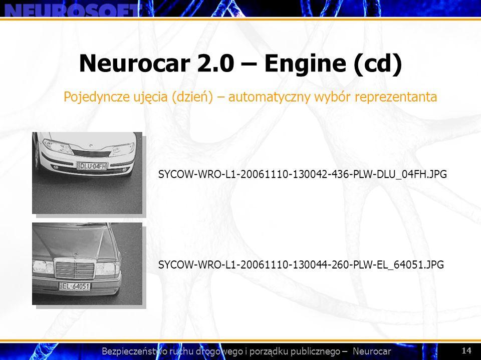 Bezpieczeństwo ruchu drogowego i porządku publicznego – Neurocar 14 Neurocar 2.0 – Engine (cd) SYCOW-WRO-L1-20061110-130044-260-PLW-EL_64051.JPG SYCOW