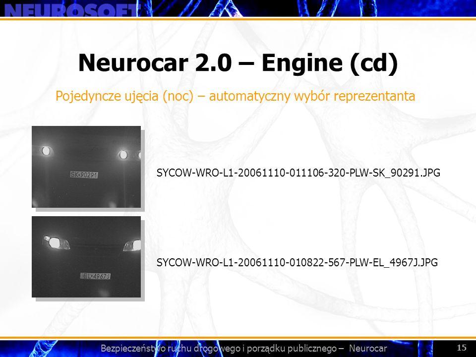 Bezpieczeństwo ruchu drogowego i porządku publicznego – Neurocar 15 Neurocar 2.0 – Engine (cd) SYCOW-WRO-L1-20061110-010822-567-PLW-EL_4967J.JPG SYCOW