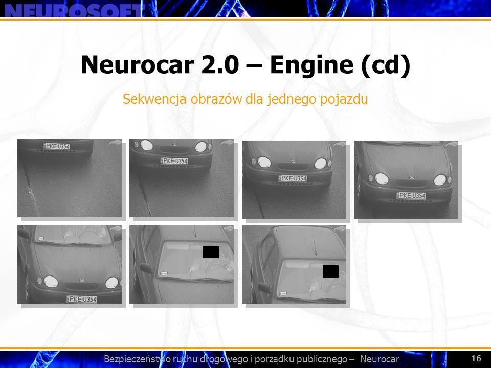 Bezpieczeństwo ruchu drogowego i porządku publicznego – Neurocar 16 Neurocar 2.0 – Engine (cd) Sekwencja obrazów dla jednego pojazdu