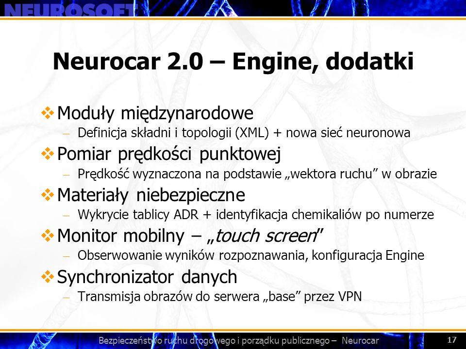 Bezpieczeństwo ruchu drogowego i porządku publicznego – Neurocar 17 Neurocar 2.0 – Engine, dodatki Moduły międzynarodowe – Definicja składni i topolog