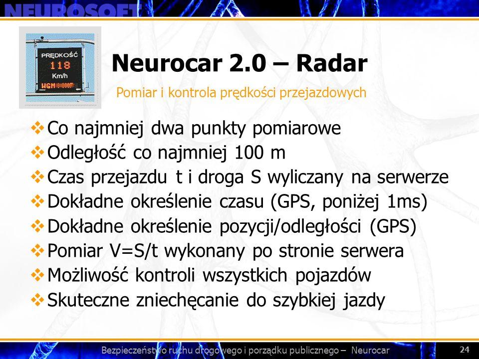 Bezpieczeństwo ruchu drogowego i porządku publicznego – Neurocar 24 Neurocar 2.0 – Radar Co najmniej dwa punkty pomiarowe Odległość co najmniej 100 m