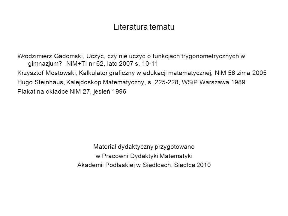 Literatura tematu Włodzimierz Gadomski, Uczyć, czy nie uczyć o funkcjach trygonometrycznych w gimnazjum? NiM+TI nr 62, lato 2007 s. 10-11 Krzysztof Mo