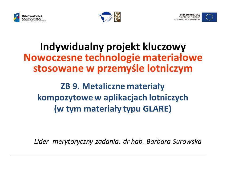 Indywidualny projekt kluczowy Nowoczesne technologie materiałowe stosowane w przemyśle lotniczym ZB 9. Metaliczne materiały kompozytowe w aplikacjach