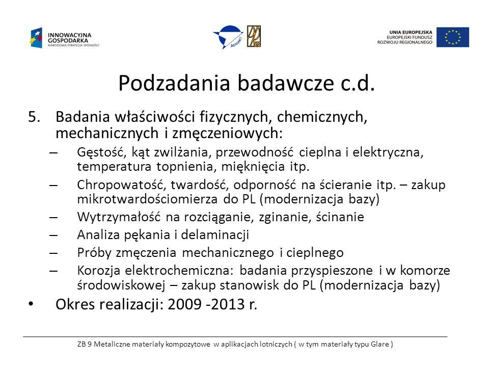 Podzadania badawcze c.d. 5.Badania właściwości fizycznych, chemicznych, mechanicznych i zmęczeniowych: – Gęstość, kąt zwilżania, przewodność cieplna i