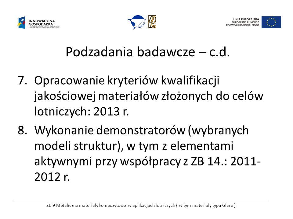 Podzadania badawcze – c.d. 7.Opracowanie kryteriów kwalifikacji jakościowej materiałów złożonych do celów lotniczych: 2013 r. 8.Wykonanie demonstrator