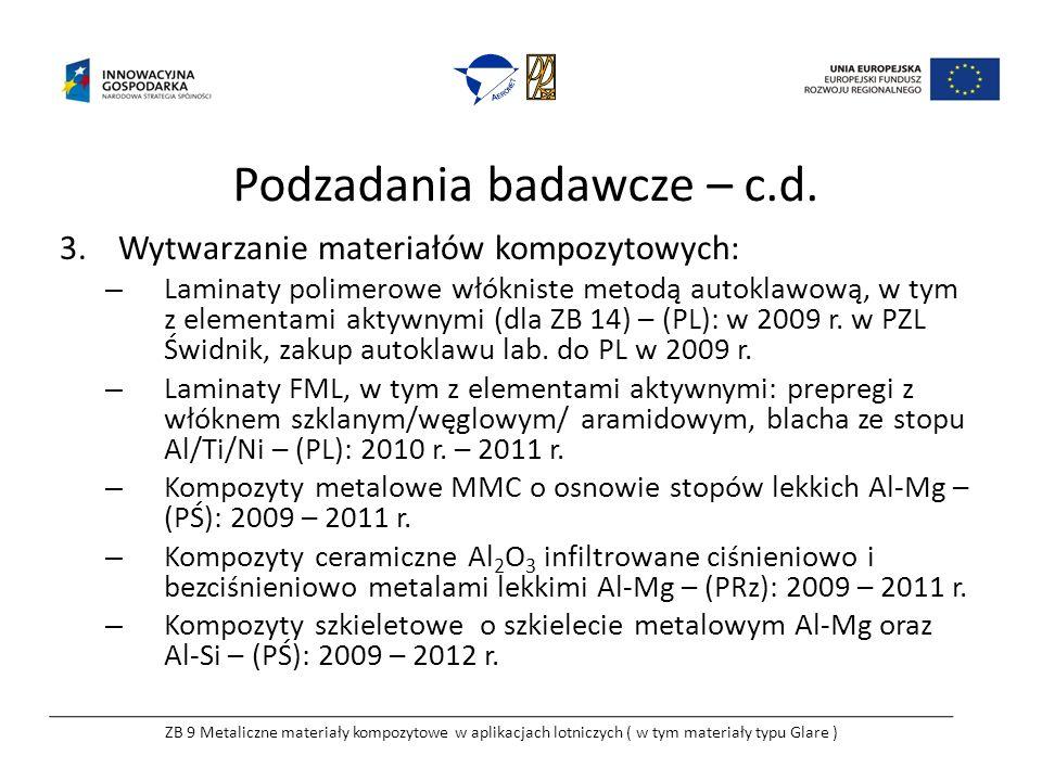 Podzadania badawcze – c.d. 3.Wytwarzanie materiałów kompozytowych: – Laminaty polimerowe włókniste metodą autoklawową, w tym z elementami aktywnymi (d