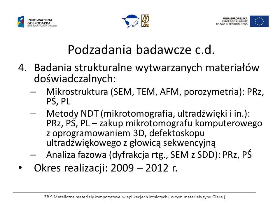 Podzadania badawcze c.d. 4.Badania strukturalne wytwarzanych materiałów doświadczalnych: – Mikrostruktura (SEM, TEM, AFM, porozymetria): PRz, PŚ, PL –