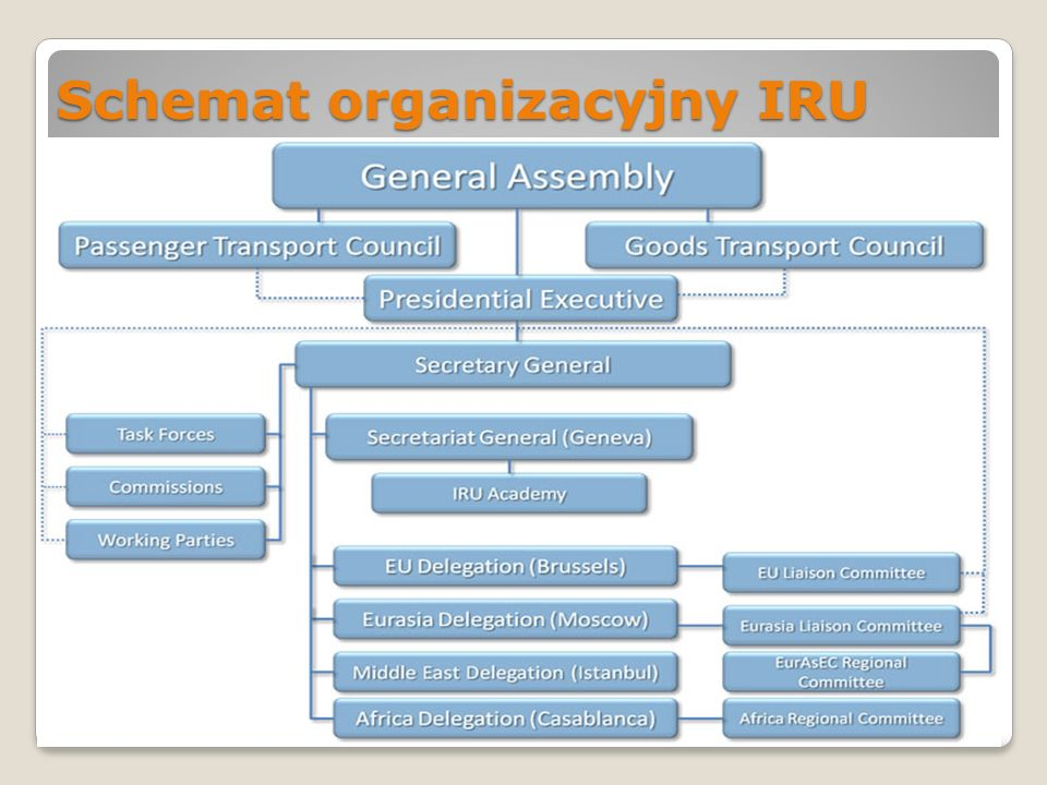 Misja IRU Misją IRU jest reprezentowanie szeroko pojętego przemysłu transportu drogowego na całym świecie w celu poprawy bezpieczeństwa i ekologicznych osiągów transportu drogowego, a także zapewnienia mobilności osób i towarów.