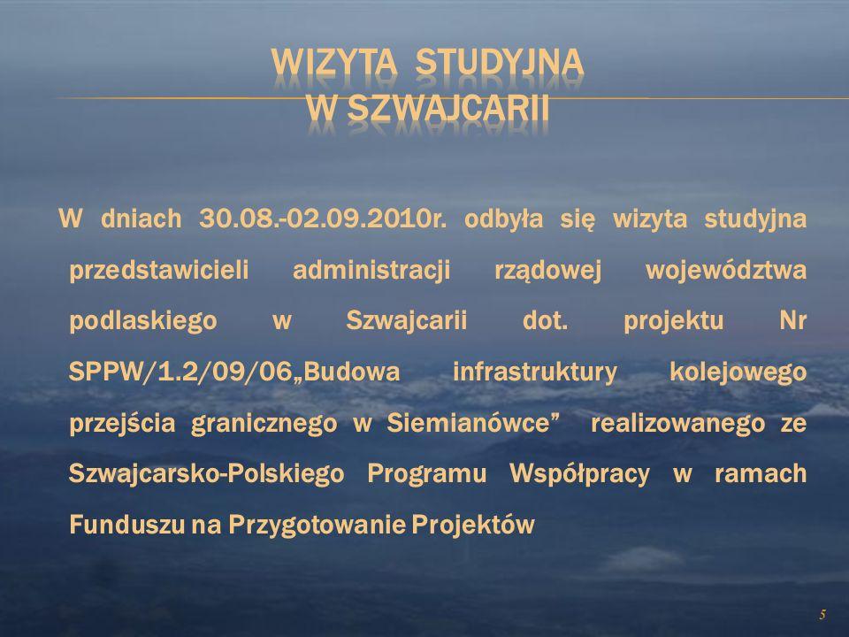 BUDOWA INFRASTRUKTURY KOLEJOWEGO PRZEJŚCIA GRANICZNEGO W SIEMIANÓWCE Szwajcarsko - Polski Program Współpracy - 14 882 576,86 zł /6 126 282CHF/ - udzia
