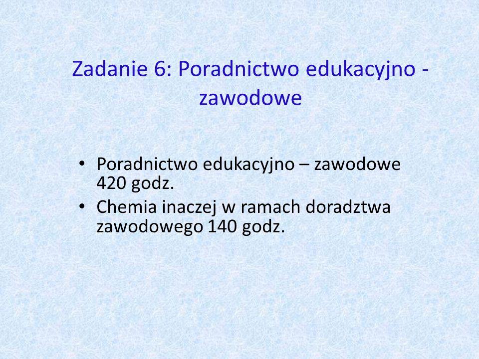 Zadanie 6: Poradnictwo edukacyjno - zawodowe Poradnictwo edukacyjno – zawodowe 420 godz.