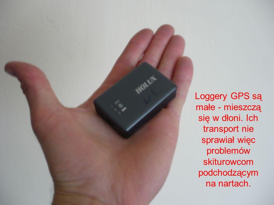 Loggery GPS są małe - mieszczą się w dłoni. Ich transport nie sprawiał więc problemów skiturowcom podchodzącym na nartach.