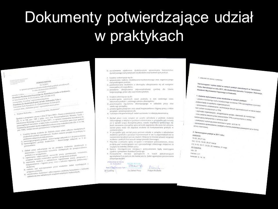 Dokumenty potwierdzające udział w praktykach