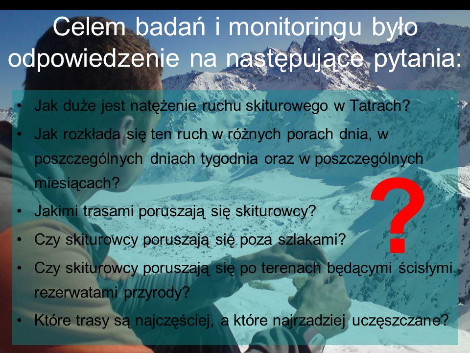 Celem badań i monitoringu było odpowiedzenie na następujące pytania: Jak duże jest natężenie ruchu skiturowego w Tatrach? Jak rozkłada się ten ruch w