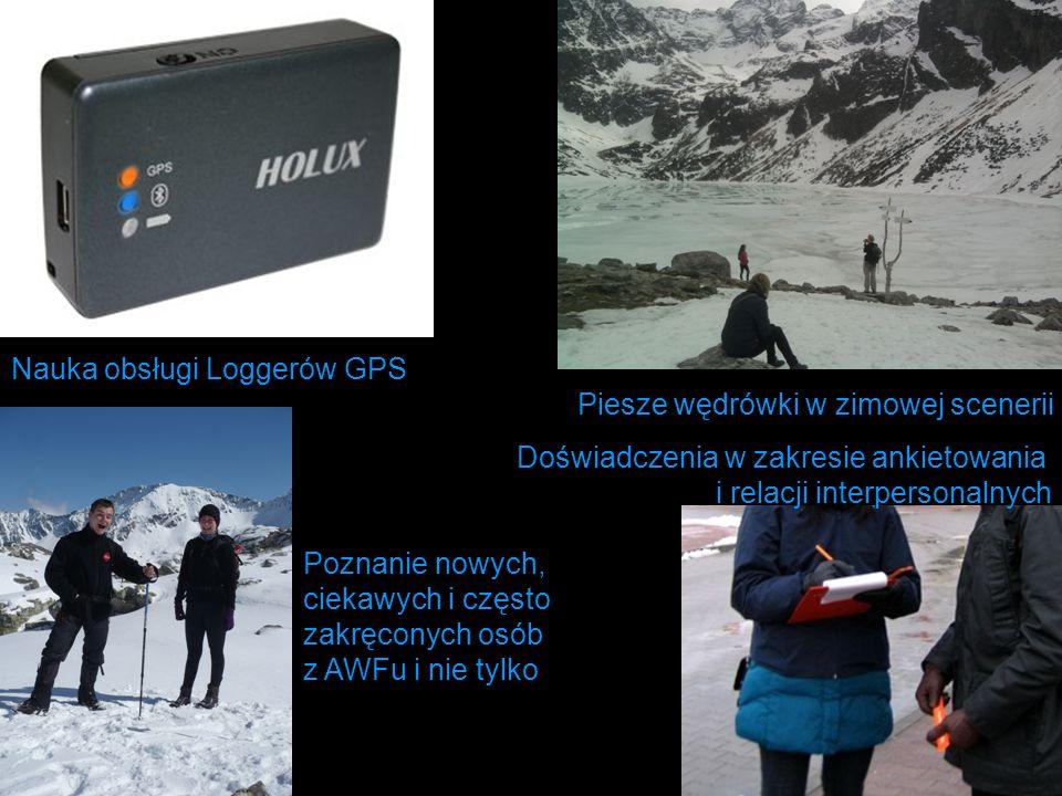 Nauka obsługi Loggerów GPS Piesze wędrówki w zimowej scenerii Doświadczenia w zakresie ankietowania i relacji interpersonalnych Poznanie nowych, cieka