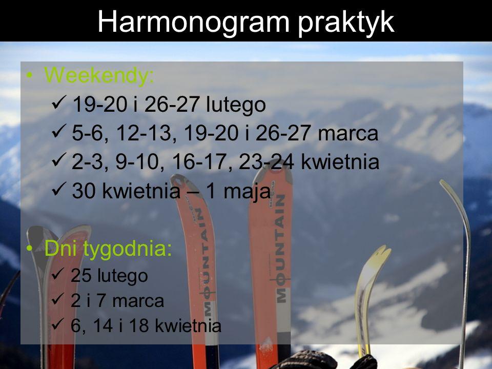 Harmonogram praktyk Weekendy: 19-20 i 26-27 lutego 5-6, 12-13, 19-20 i 26-27 marca 2-3, 9-10, 16-17, 23-24 kwietnia 30 kwietnia – 1 maja Dni tygodnia: