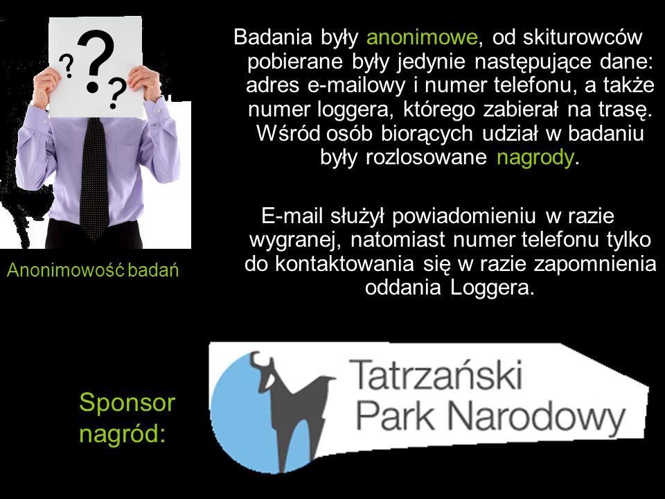 Badania były anonimowe, od skiturowców pobierane były jedynie następujące dane: adres e-mailowy i numer telefonu, a także numer loggera, którego zabie