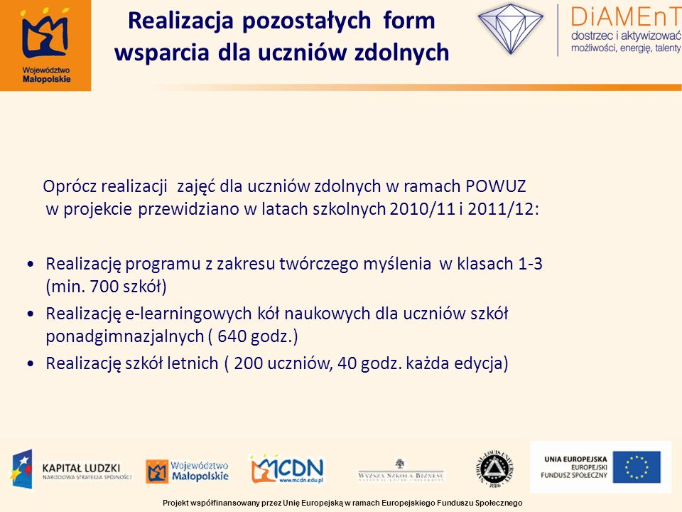 Oprócz realizacji zajęć dla uczniów zdolnych w ramach POWUZ w projekcie przewidziano w latach szkolnych 2010/11 i 2011/12: Realizację programu z zakre