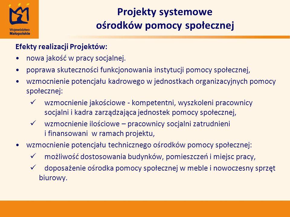 Efekty realizacji Projektów: nowa jakość w pracy socjalnej. poprawa skuteczności funkcjonowania instytucji pomocy społecznej, wzmocnienie potencjału k