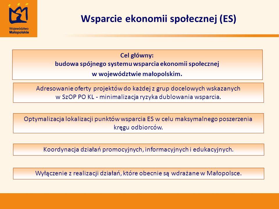 Wsparcie ekonomii społecznej (ES) Adresowanie oferty projektów do każdej z grup docelowych wskazanych w SzOP PO KL - minimalizacja ryzyka dublowania w
