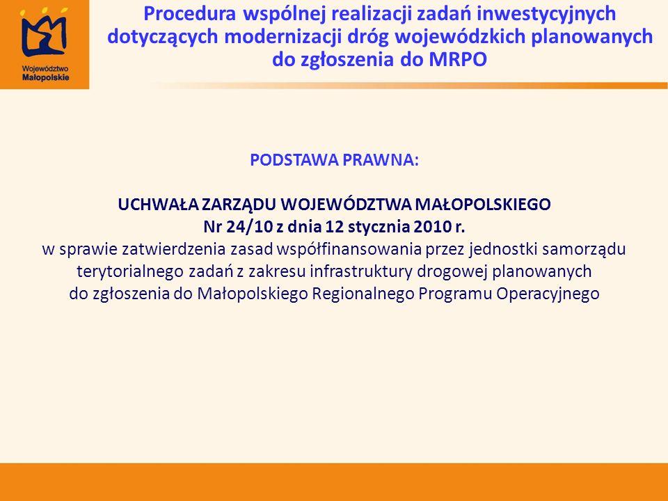 PODSTAWA PRAWNA: UCHWAŁA ZARZĄDU WOJEWÓDZTWA MAŁOPOLSKIEGO Nr 24/10 z dnia 12 stycznia 2010 r. w sprawie zatwierdzenia zasad współfinansowania przez j