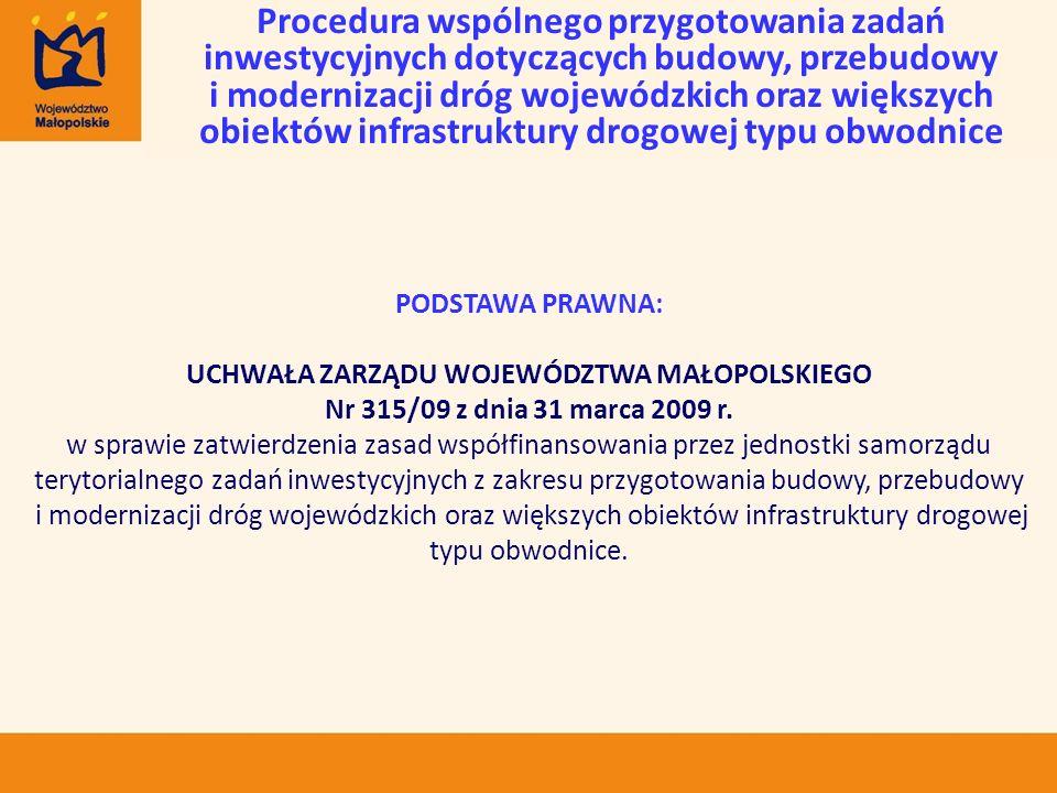 PODSTAWA PRAWNA: UCHWAŁA ZARZĄDU WOJEWÓDZTWA MAŁOPOLSKIEGO Nr 315/09 z dnia 31 marca 2009 r. w sprawie zatwierdzenia zasad współfinansowania przez jed