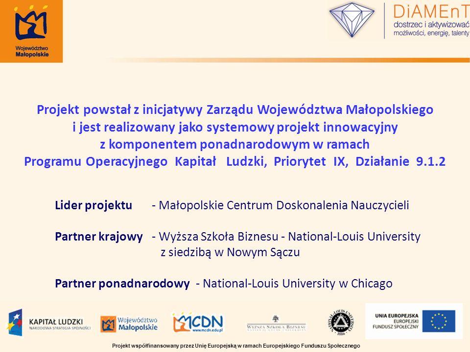 Lider projektu - Małopolskie Centrum Doskonalenia Nauczycieli Partner krajowy - Wyższa Szkoła Biznesu - National-Louis University z siedzibą w Nowym S