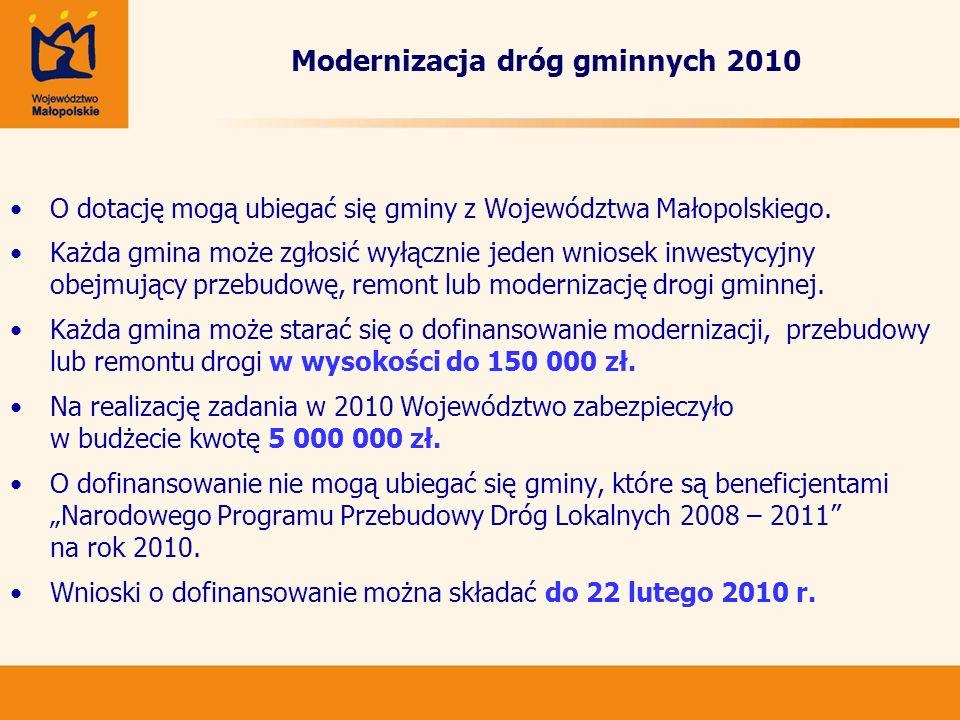 Modernizacja dróg gminnych 2010 O dotację mogą ubiegać się gminy z Województwa Małopolskiego. Każda gmina może zgłosić wyłącznie jeden wniosek inwesty