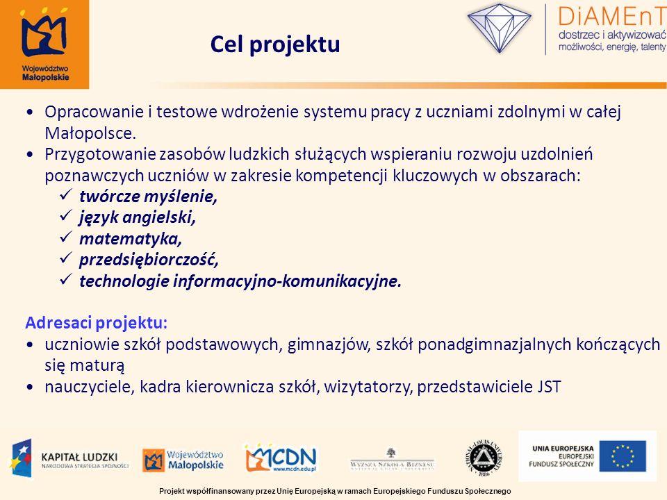 Opracowanie i testowe wdrożenie systemu pracy z uczniami zdolnymi w całej Małopolsce. Przygotowanie zasobów ludzkich służących wspieraniu rozwoju uzdo