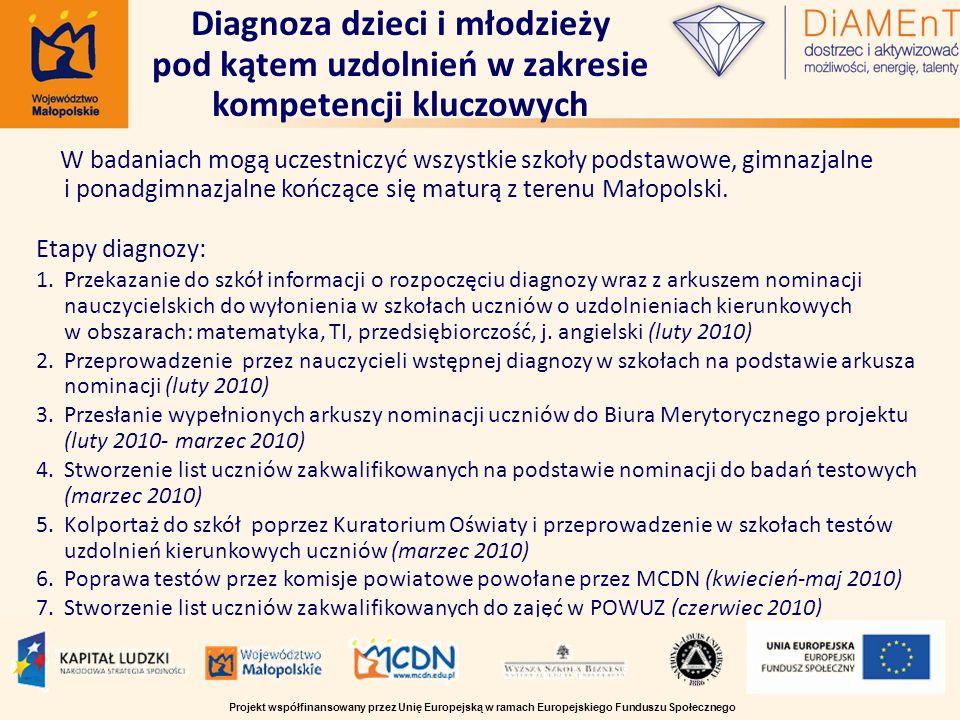 W badaniach mogą uczestniczyć wszystkie szkoły podstawowe, gimnazjalne i ponadgimnazjalne kończące się maturą z terenu Małopolski. Etapy diagnozy: 1.P
