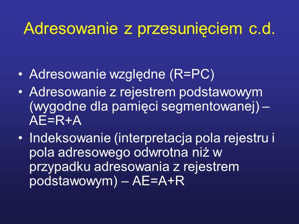 Adresowanie z przesunięciem c.d. Adresowanie względne (R=PC) Adresowanie z rejestrem podstawowym (wygodne dla pamięci segmentowanej) – AE=R+A Indeksow