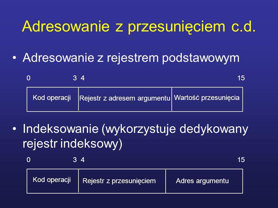 Adresowanie z przesunięciem c.d. Adresowanie z rejestrem podstawowym Indeksowanie (wykorzystuje dedykowany rejestr indeksowy) 0 3 4 15 Kod operacji Wa