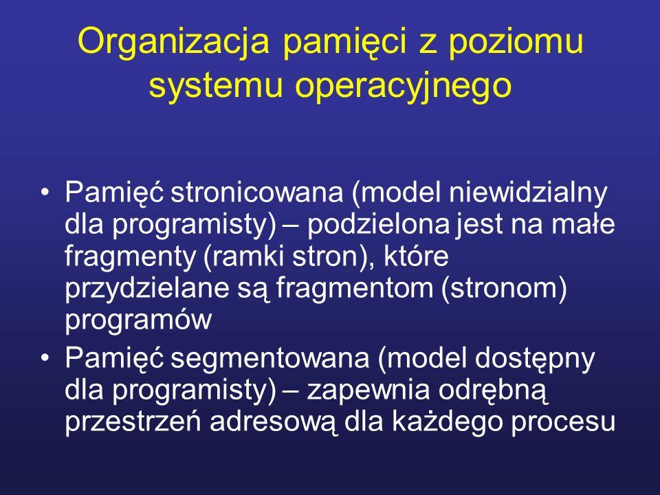 Organizacja pamięci z poziomu systemu operacyjnego Pamięć stronicowana (model niewidzialny dla programisty) – podzielona jest na małe fragmenty (ramki