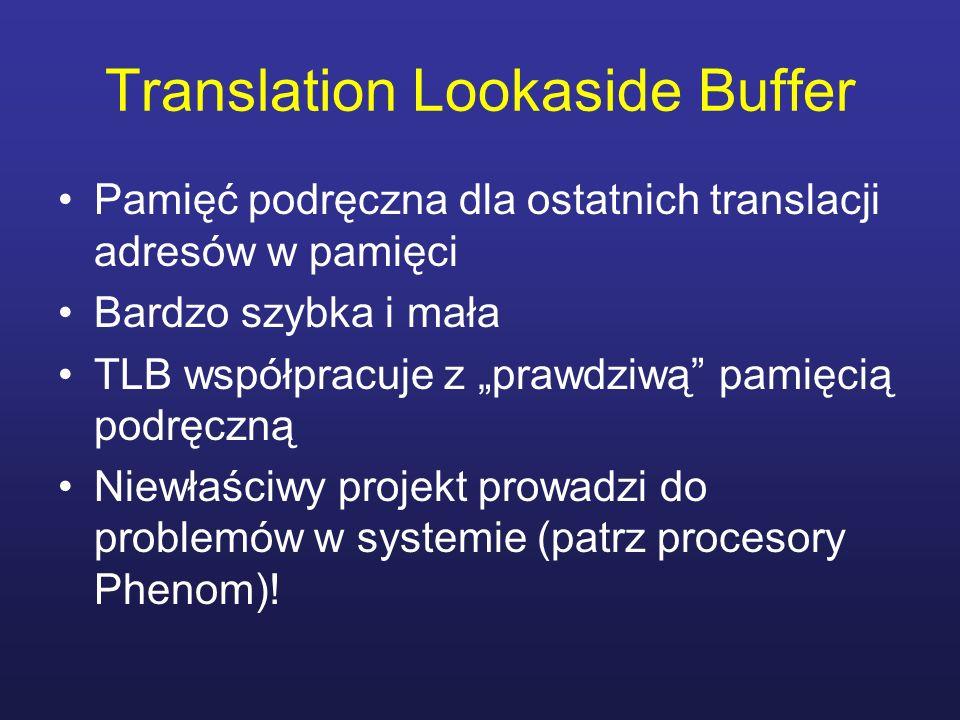 Translation Lookaside Buffer Pamięć podręczna dla ostatnich translacji adresów w pamięci Bardzo szybka i mała TLB współpracuje z prawdziwą pamięcią po