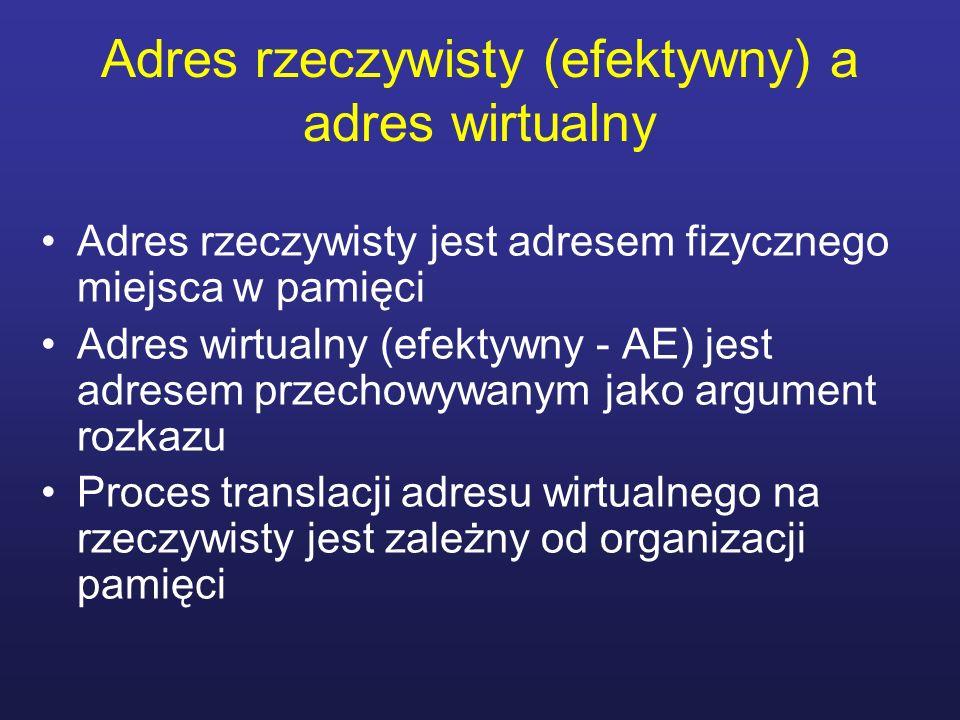 Adres rzeczywisty (efektywny) a adres wirtualny Adres rzeczywisty jest adresem fizycznego miejsca w pamięci Adres wirtualny (efektywny - AE) jest adre