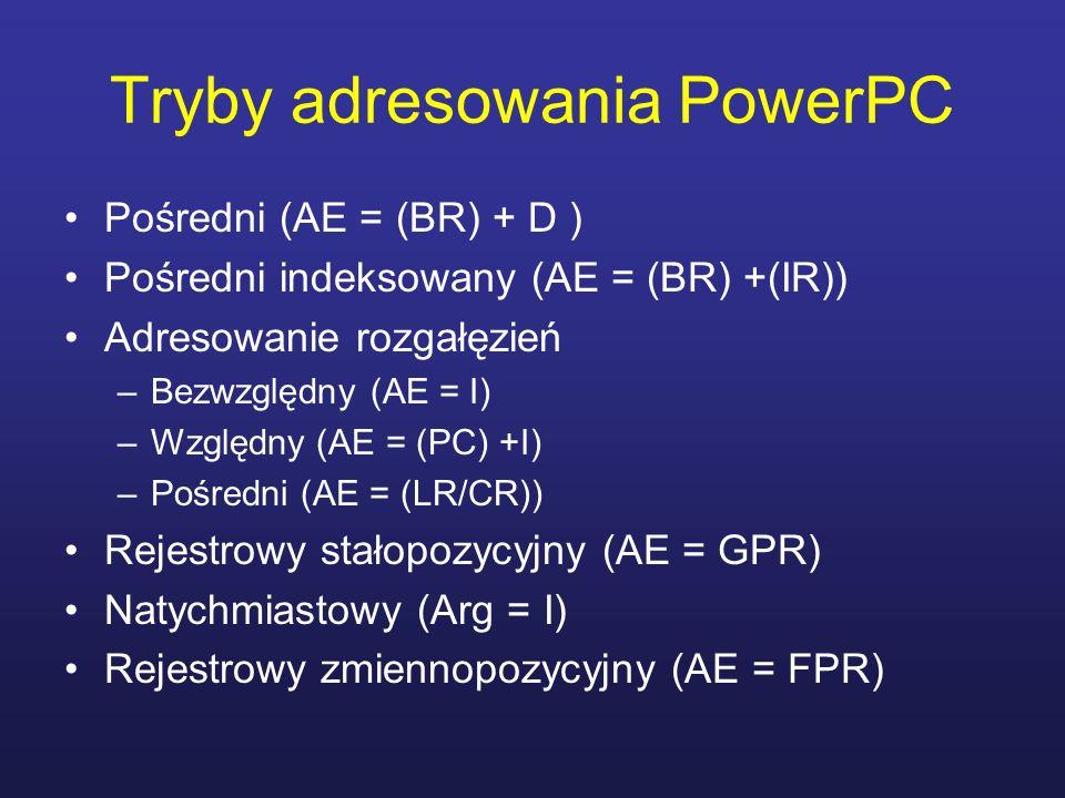 Tryby adresowania PowerPC Pośredni (AE = (BR) + D ) Pośredni indeksowany (AE = (BR) +(IR)) Adresowanie rozgałęzień –Bezwzględny (AE = I) –Względny (AE