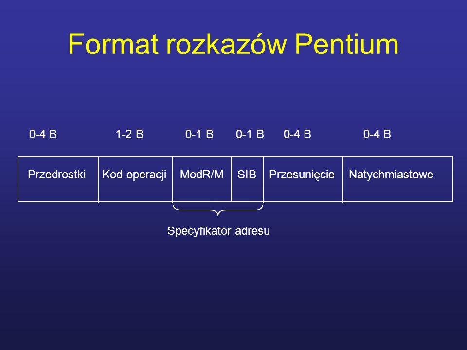 Format rozkazów Pentium Przedrostki Kod operacji ModR/M SIB Przesunięcie Natychmiastowe 0-4 B 1-2 B 0-1 B 0-1 B 0-4 B 0-4 B Specyfikator adresu