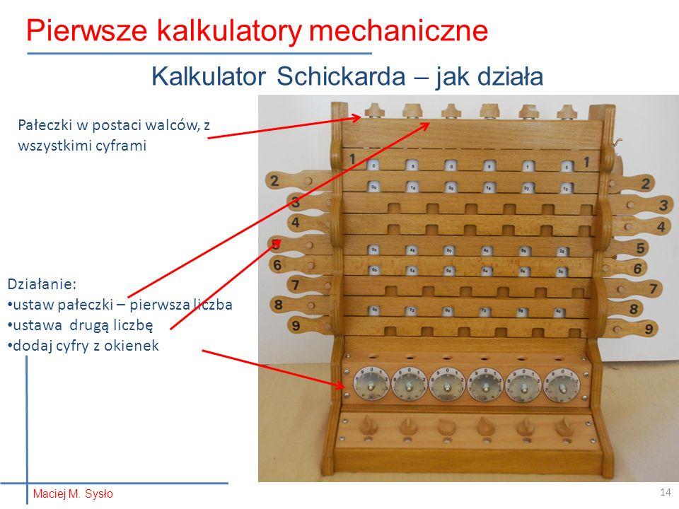 Kalkulator Schickarda – jak działa Pałeczki w postaci walców, z wszystkimi cyframi Działanie: ustaw pałeczki – pierwsza liczba ustawa drugą liczbę dodaj cyfry z okienek Maciej M.