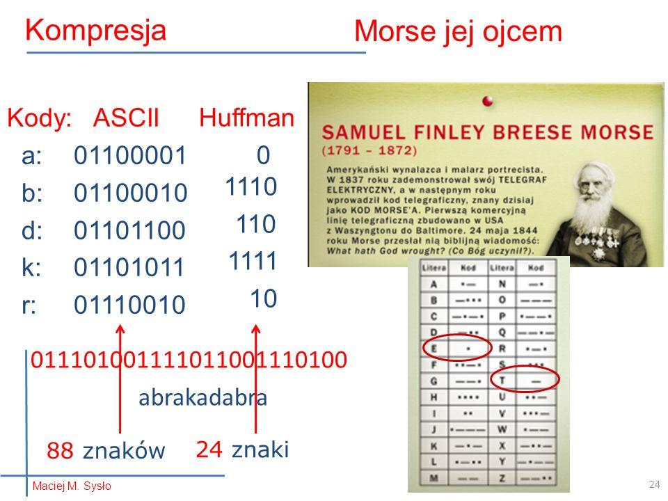 011101001111011001110100 abrakadabra Morse jej ojcem Kody: ASCII a:01100001 b:01100010 d:01101100 k:01101011 r:01110010 Huffman 0 1110 110 1111 10 88 znaków 24 znaki 24 Kompresja Maciej M.