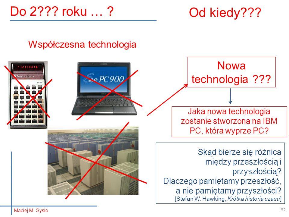 Od kiedy??? Nowa technologia ??? Jaka nowa technologia zostanie stworzona na IBM PC, która wyprze PC? Współczesna technologia 32 Skąd bierze się różni