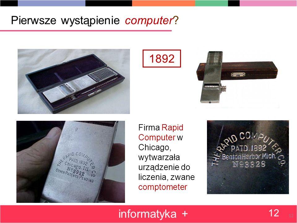 12 Pierwsze wystąpienie computer.