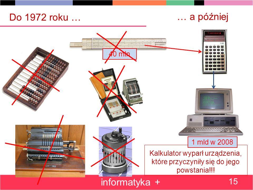 40 mln … a później Kalkulator wyparł urządzenia, które przyczyniły się do jego powstania!!.