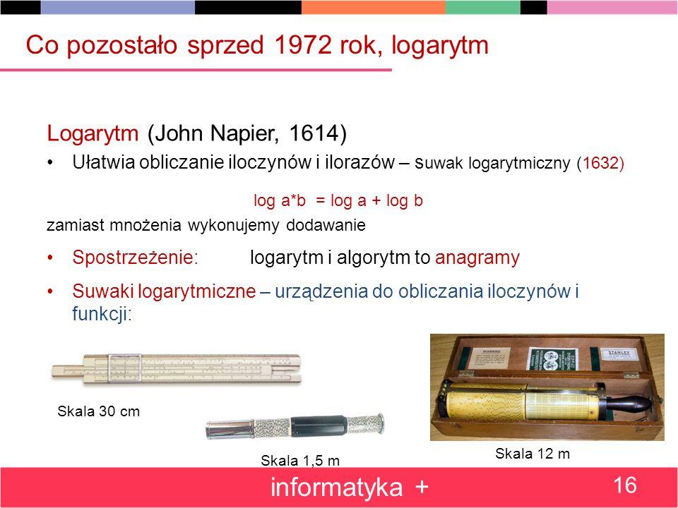 Logarytm (John Napier, 1614) Ułatwia obliczanie iloczynów i ilorazów – s uwak logarytmiczny (1632) log a*b = log a + log b zamiast mnożenia wykonujemy dodawanie Spostrzeżenie: logarytm i algorytm to anagramy Suwaki logarytmiczne – urządzenia do obliczania iloczynów i funkcji: Co pozostało sprzed 1972 rok, logarytm informatyka + 16 Skala 30 cm Skala 1,5 m Skala 12 m