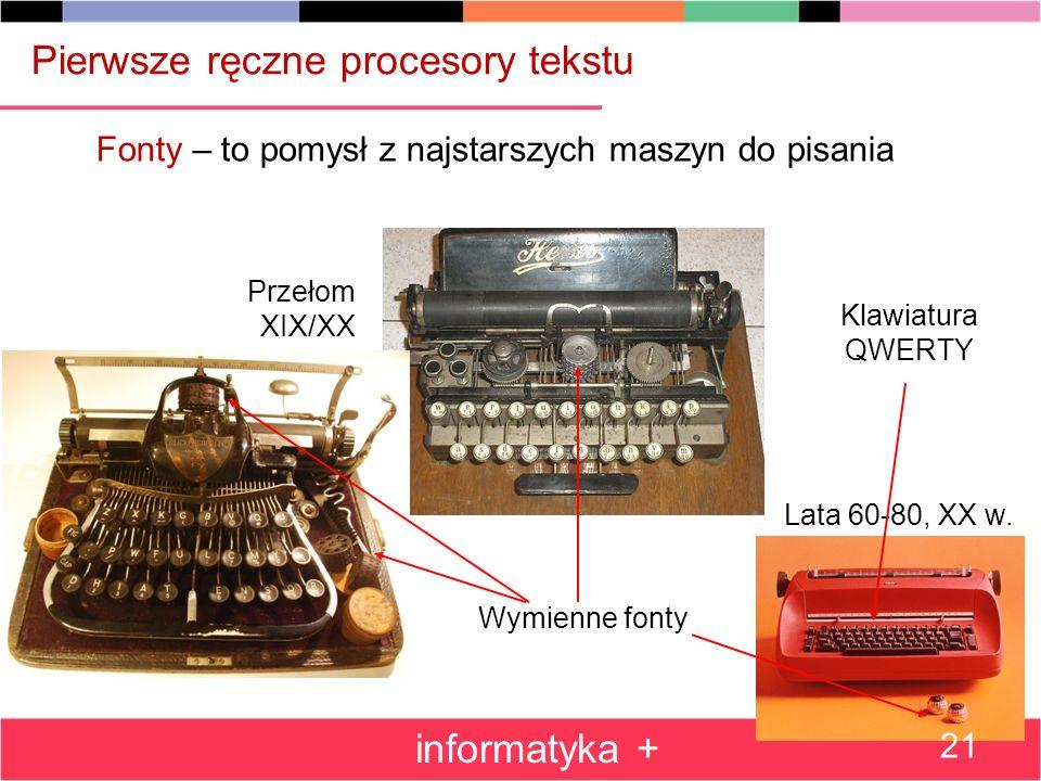 Fonty – to pomysł z najstarszych maszyn do pisania Wymienne fonty Lata 60-80, XX w.