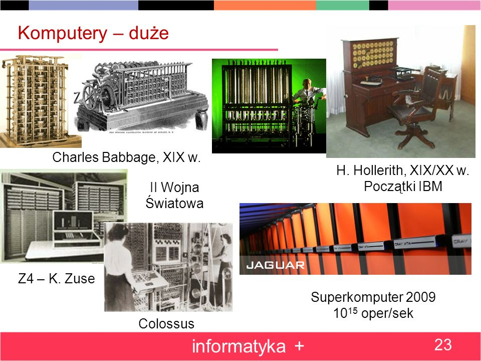 23 Komputery – duże informatyka + 23 Charles Babbage, XIX w.
