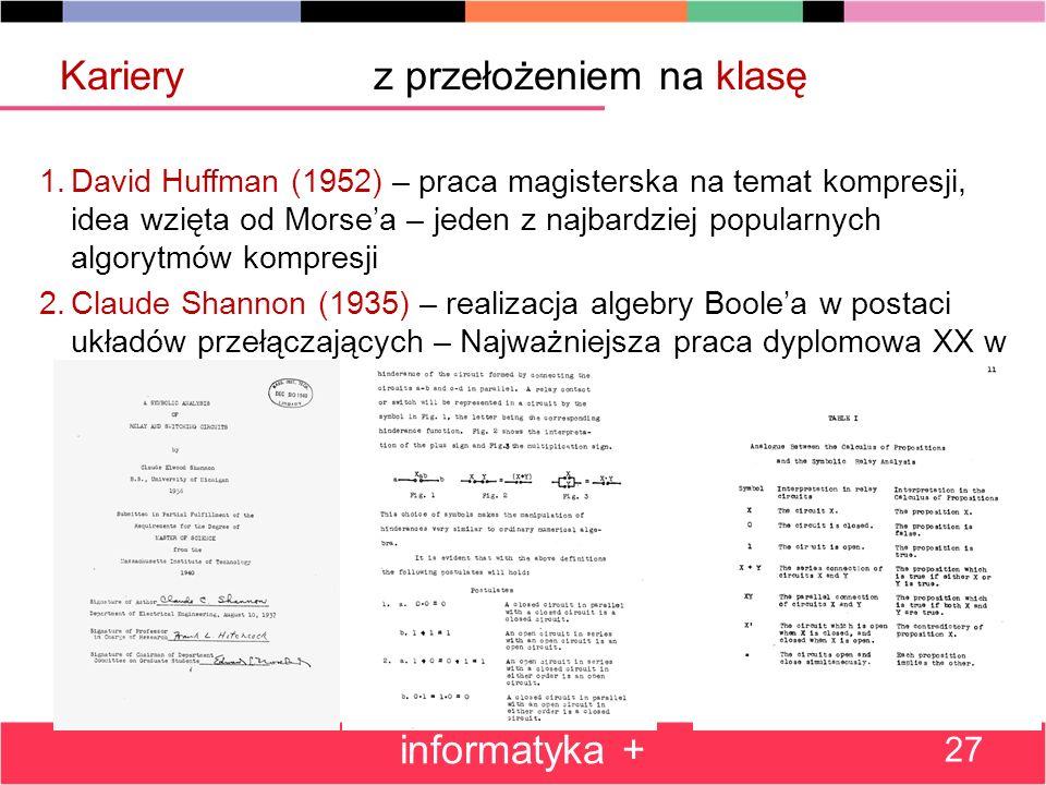 1.David Huffman (1952) – praca magisterska na temat kompresji, idea wzięta od Morsea – jeden z najbardziej popularnych algorytmów kompresji 2.Claude Shannon (1935) – realizacja algebry Boolea w postaci układów przełączających – Najważniejsza praca dyplomowa XX w informatyka + 27 Karieryz przełożeniem na klasę